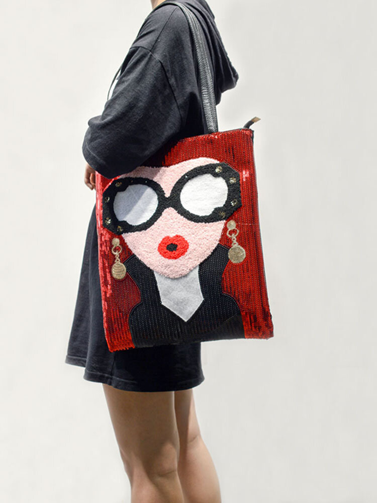 Women's Fashion Color Sequins Large Capacity Shoulder Bag Tote Bag