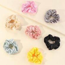 7pcs Toddler Girls Solid Scrunchie
