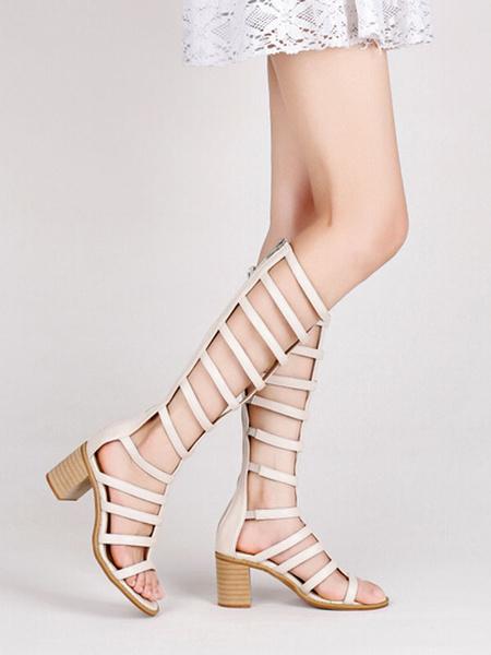 Milanoo Coffee Brown Gladiator Sandals PU Leather Peep Toe Mid Heel Side Sandals