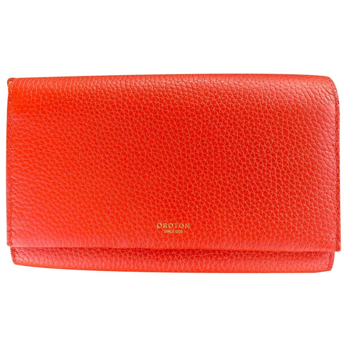 Oroton - Portefeuille   pour femme en cuir - rouge