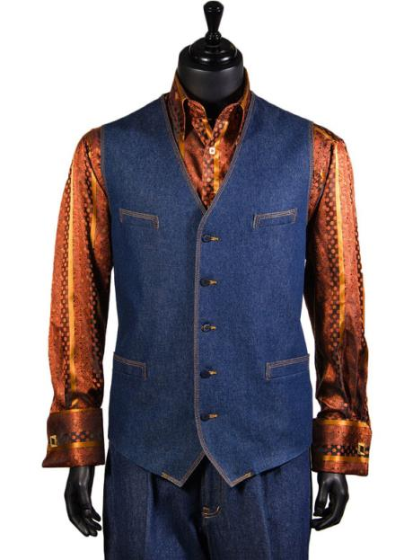 Men's Double Breasted Blue Cotton 2Pc Vest Set Trending Walking Suit