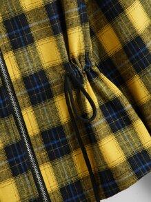 Tartan Print Drawstring Waist Zip Up Hooded Jacket