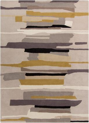 HQL8022-58 5' x 8' Rug  in Medium Gray and Khaki and Tan and Black and Camel and Light