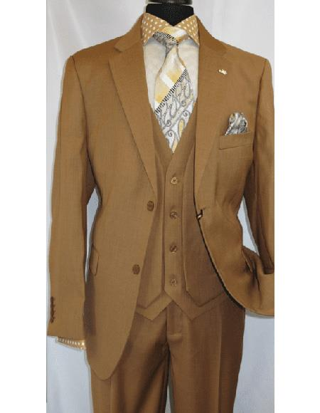 OS Falcone Men's Mustard Polyester ~ Rayon Notch Lapel Suit Two Button