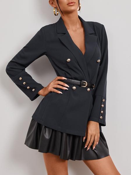 YOINS Navy Button Design Lapel Collar Long Sleeves Blazer