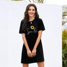 T-Shirt Kleid mit Sonnenblumen Muster und Fledermausaermeln
