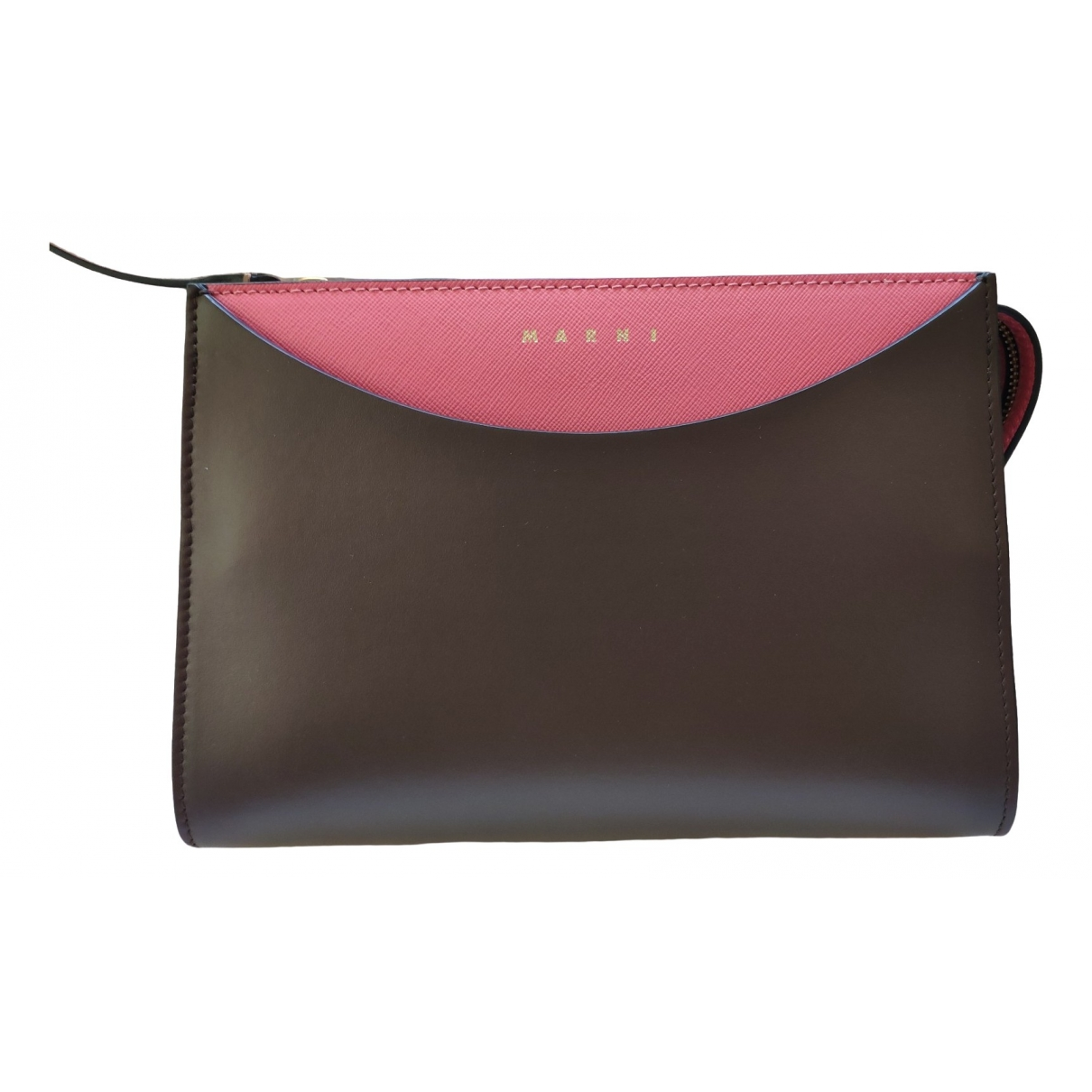 Marni \N Clutch in  Khaki Leder