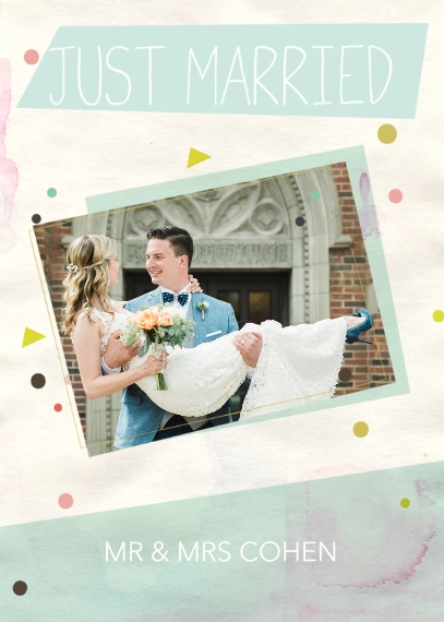 Just Married 5x7 Folded Cards, Standard Cardstock 85lb, Card & Stationery -Confetti Just Married
