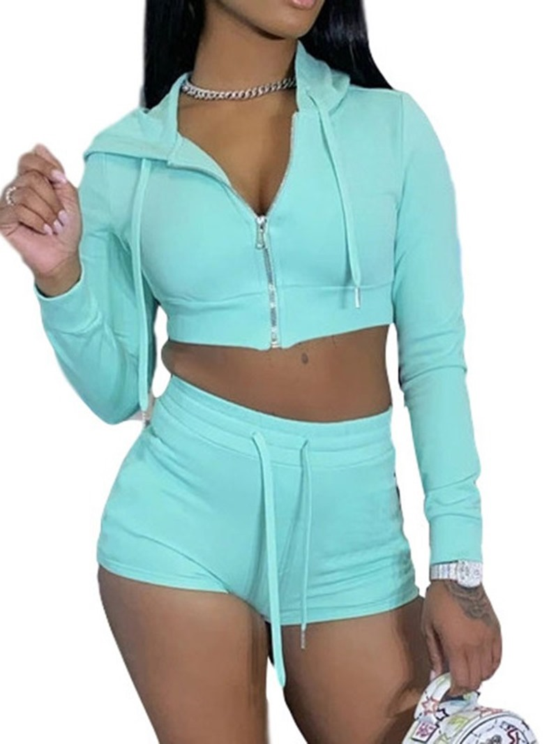 Ericdress With Hood Breathable Solid Cotton Zipper Running Clothing Sets