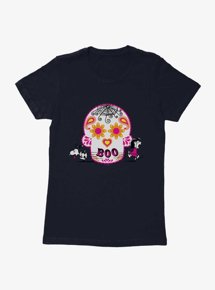 Peanuts Snoopy And Lucy Day Of The Dead Womens T-Shirt