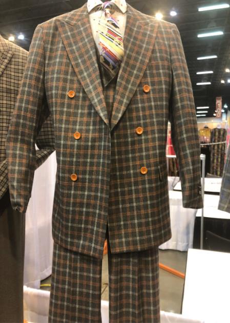 Mens Peak Lapel Single Breasted Plaid Suit