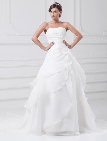 Milanoo Vestido de novia blanco de tul de linea A sin tirantes de cola larga