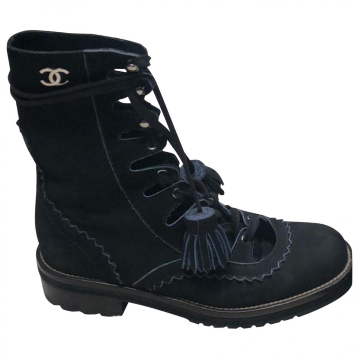 Chanel - Boots   pour femme en suede - marine
