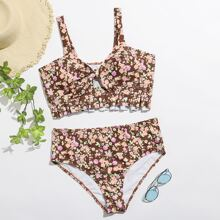 Plus Ditsy Floral Ruffle Knot Front Bikini Swimsuit