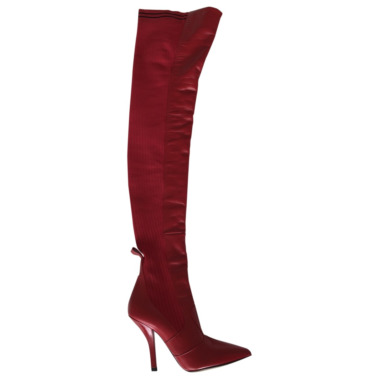 Fendi \N Red Leather Boots for Women 37.5 EU