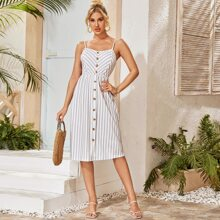 Shirred Back Buttoned Striped Cami Dress