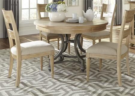Harbor View Collection 531-DR-5ROS 5-Piece Dining Room Set with Round Dining Table and 4 Slat Back Side Chairs in Sand