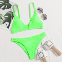 Neon Lime Cut Out Detail Bikini Swimsuit