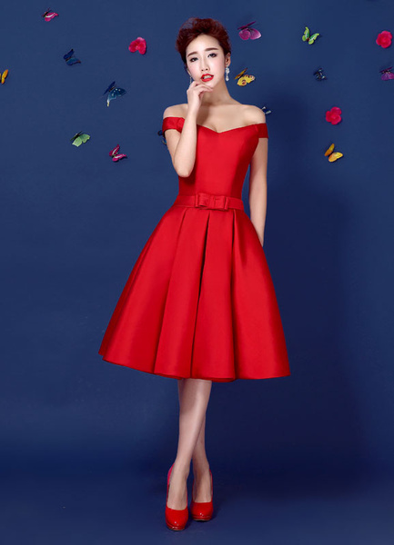 Milanoo Red Satin Cocktail Dress Off The Shoulder Homecoming Dress A Line Lace Up Knee Length Party Dress With Bow Sash wedding guest dress
