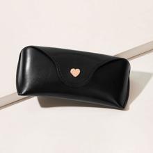 Heart Button Detail Plain Glasses Case