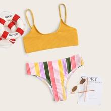 Girls Striped Rib Bikini Swimsuit