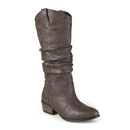 Journee Collection Womens Drover Wide Calf Slouch Riding Boots, 6 Medium, Brown