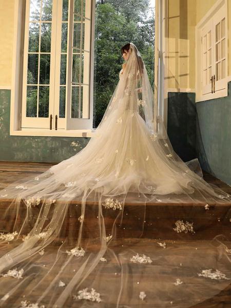 Milanoo Wedding Veil Two Tier Lace Tulle Cut Edge Classic Bridal Veil