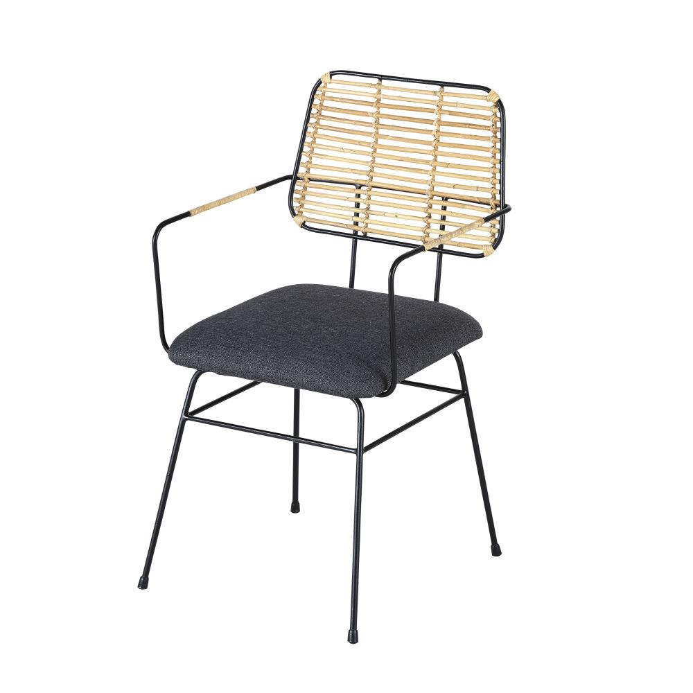 Sessel aus geflochtenem Rattan und schwarzem Metall Anya