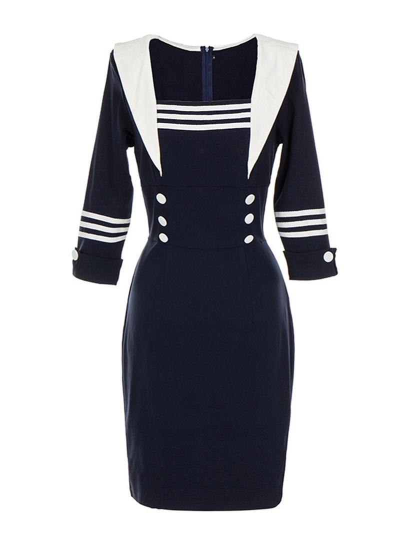 Ericdress Button Knee-Length Long Sleeve Regular Bodycon Dress
