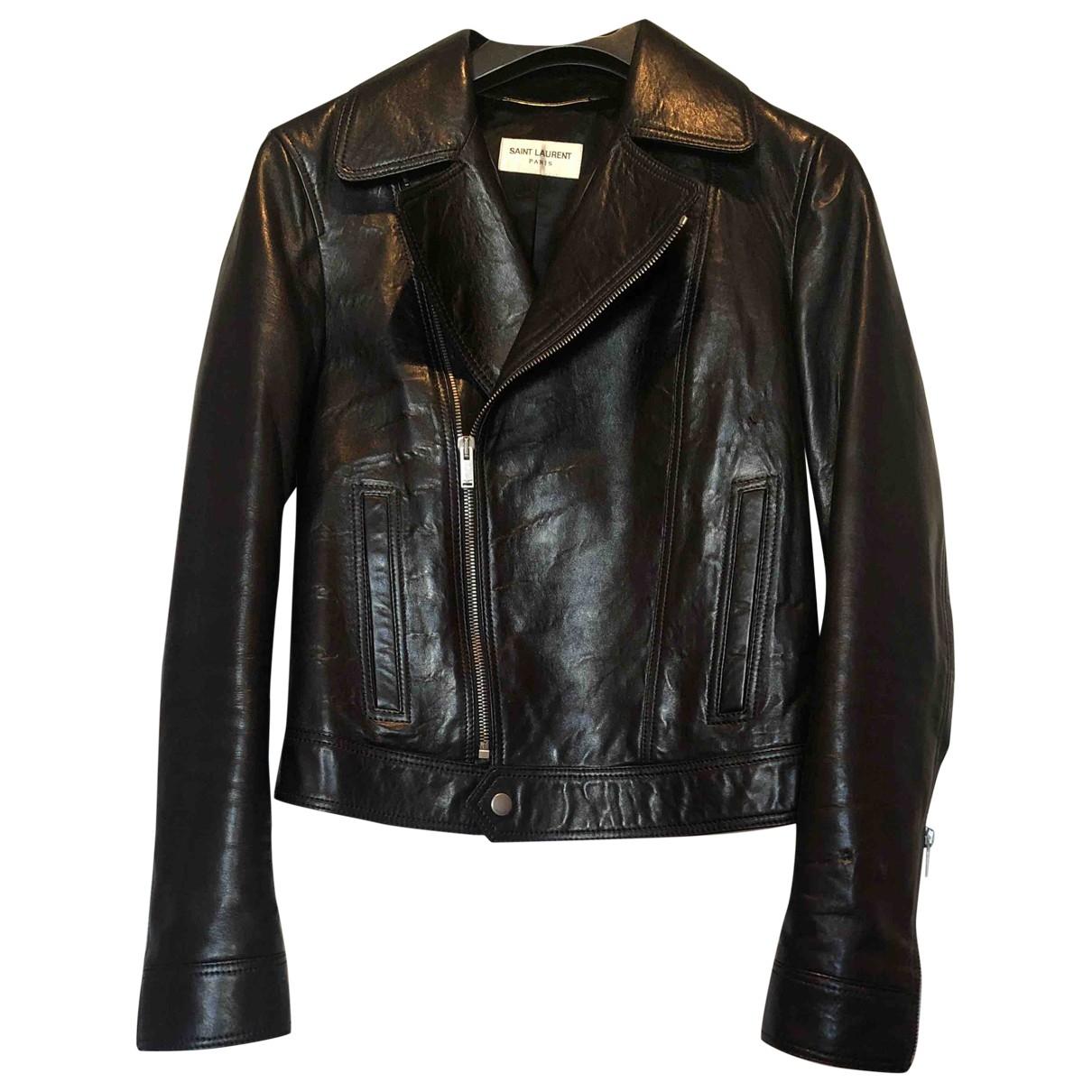 Saint Laurent - Blouson   pour femme en cuir - noir