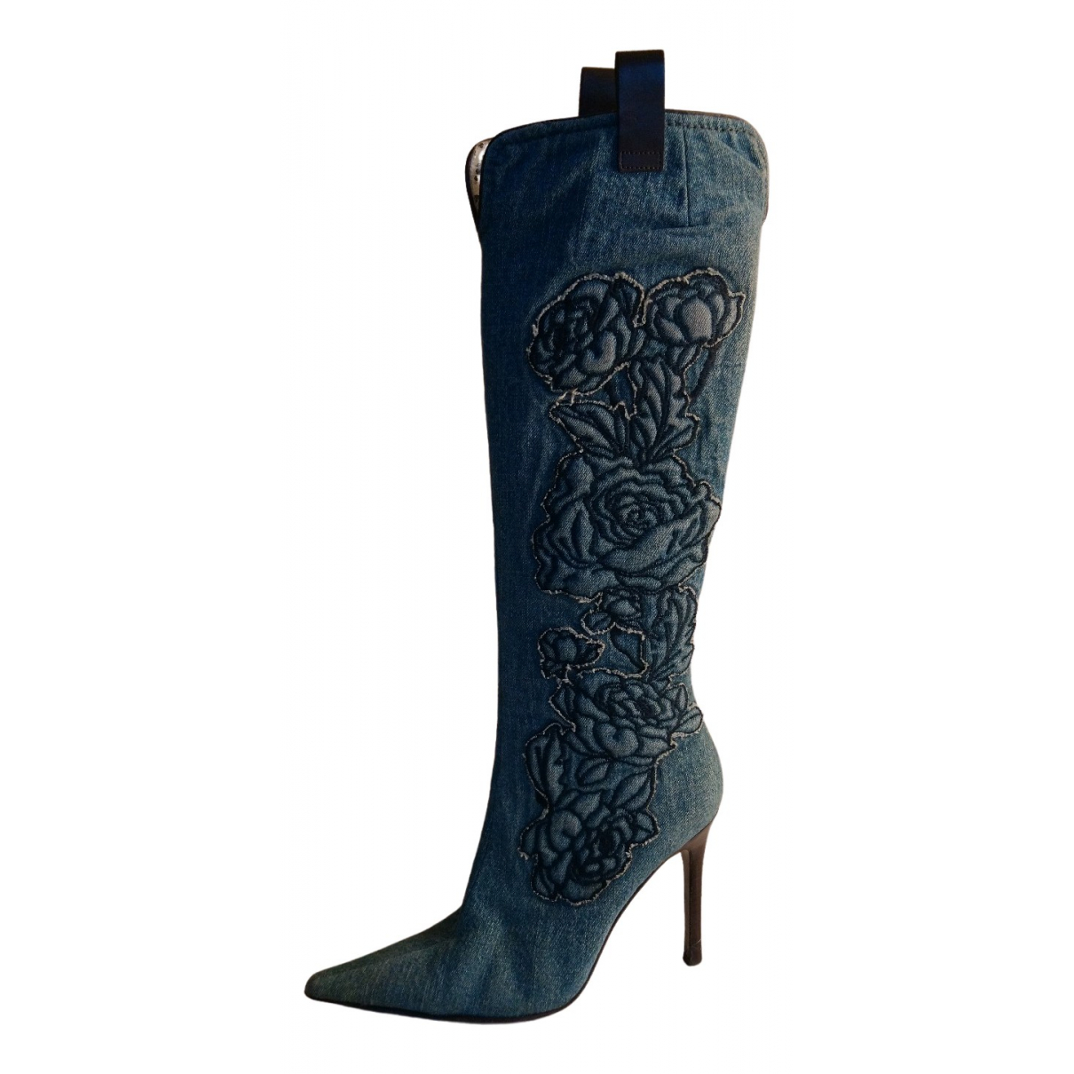 Roberto Cavalli N Blue Leather Boots for Women 37.5 EU