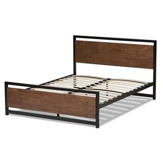 Baxton Studio Kyriakos Industrial Style Antique Bronze Finished Metal and Walnut Wood Platform Bed (Queen)