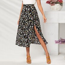 Floral Print Split Thigh Zipper Fly Skirt