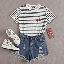 Cherry Embroidered Striped Tee