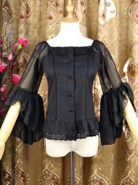 Milanoo Classic Lolita Shirt Lace Ruffle Semi Sheer Chiffon Lolita Blouse