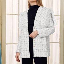 Waterfall Collar Frill Trim Plaid Tweed Coat