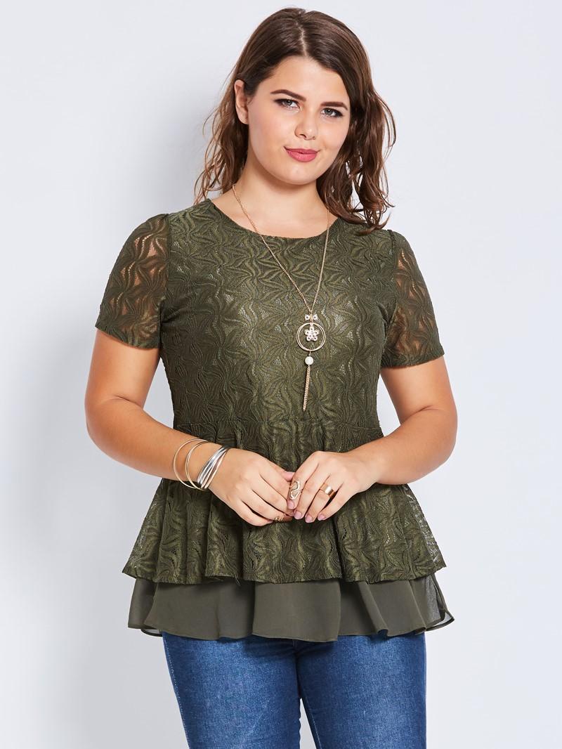 Ericdress Patchwork Lace Plus Size Plain T-Shirt