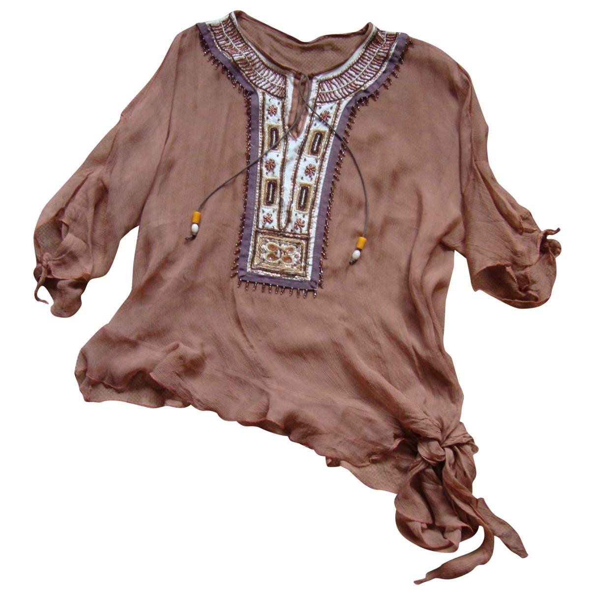 - Top   pour femme en soie - marron