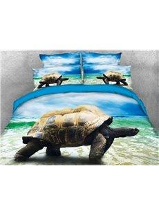 Vivilinen 3D Sea Turtle by the Sea Printed 4-Piece Bedding Sets/Duvet Covers