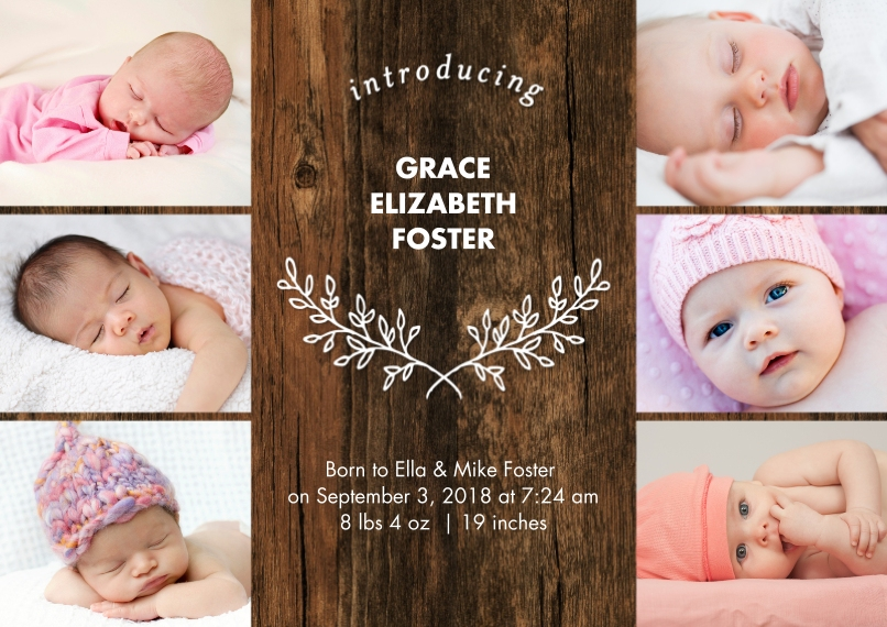Baby Boy Announcements Flat Matte Photo Paper Cards with Envelopes, 5x7, Card & Stationery -Baby Rustic Collage