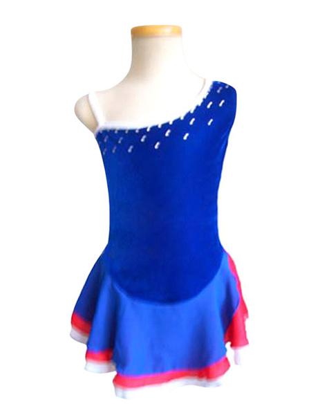 Milanoo Vestido de patinaje Trajes de baile de poliester azul