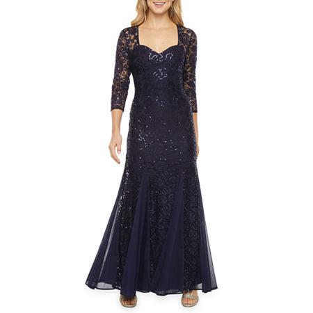 Onyx Nites 3/4 Sleeve Sequin Lace Sheath Dress, 10 , Blue