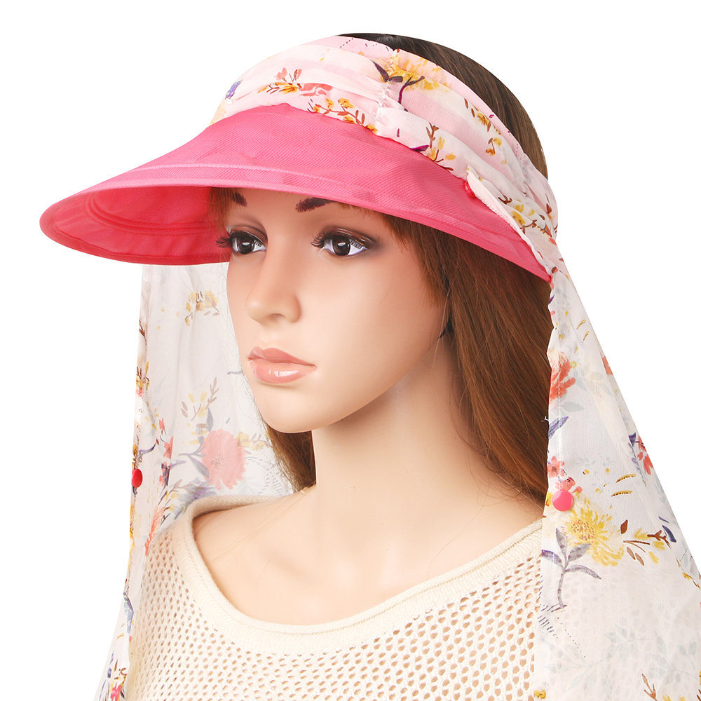 Women Summer Sunscreen Removeable Neck-protect Empty-top Hat Outdoor Casual Useful Hat
