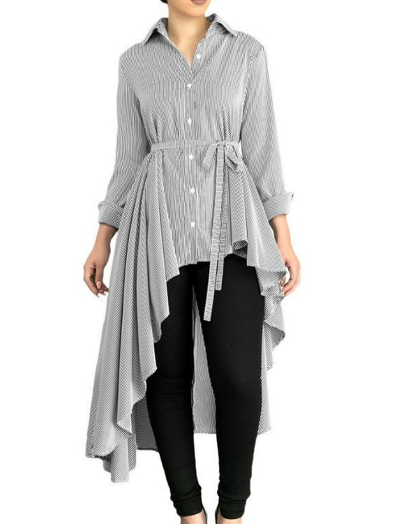 Ericdress Asymmetric Button Stripe Lace-Up Long Blouse