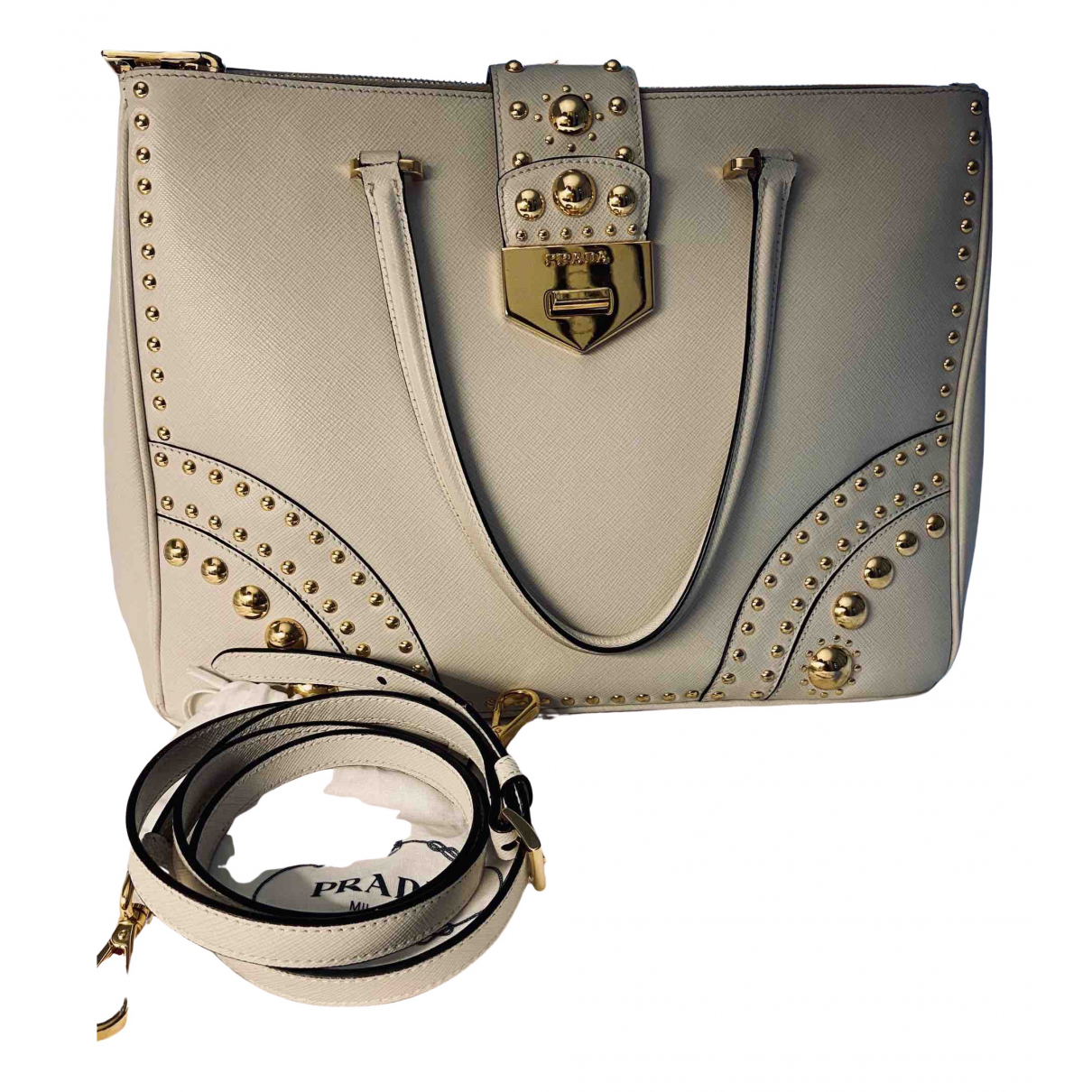 Prada saffiano  Ecru Leather handbag for Women \N