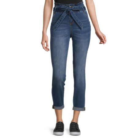 Almost Famous - Juniors Womens High Rise Straight Leg Jean, X-large , Blue