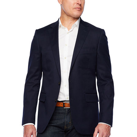 Stafford Mens Cotton Stretch Classic Fit Blazer, 44 Long, Blue