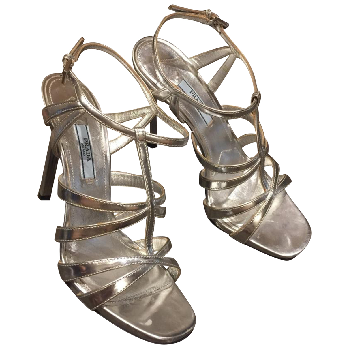 Prada \N Sandalen in  Silber Lackleder