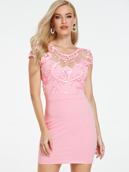 Yoins Pink Mesh Embroidered Round Neck Dress