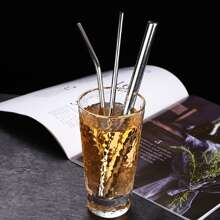 3pcs Stainless Steel Straw & 1pc Brush